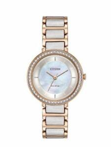 Citizen Eco Drive Women's Silhouette Crystal Mother of Pearl Watch EM0483-89D
