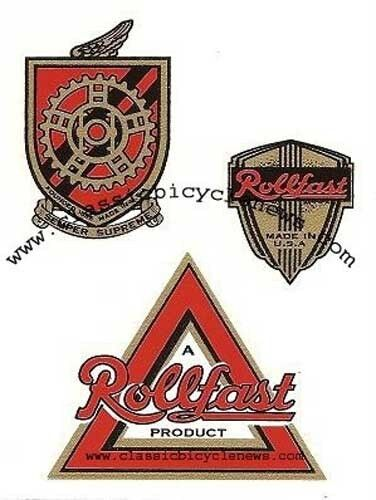 antique ROLLFAST bicycle DECAL SET of 3 DP Harris