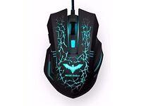 HAVIT 2400DPI Magic Eagle Ergonomic Wired Backlit Gaming Mouse, 7 Soothing LED