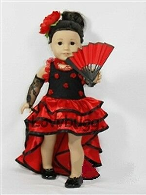 "Lovvbugg Spanish Lady Flamenco for 18"" American Girl Doll Clothes"
