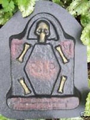 Tombstone w bones concrete mold plaster mold Halloween mould