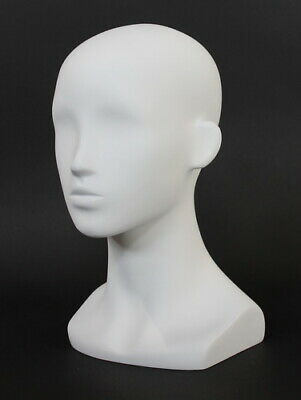 13 In H Female Head Mannequin Bust Form Display Mannequin Matte White Mh53-wt