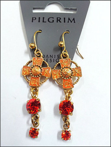 SALE PILGRIM DENMARK RED ENAMEL PENDANT RARE GOLD EARRINGS SWAROVSKI CRYSTALS