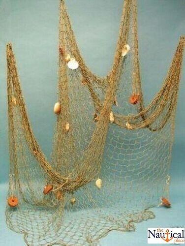 Decorative Nautical Fish Net w/ Shells & Floats ~ 5