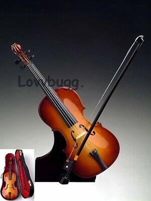 "Lovvbugg New Wood Miniature Cello for 18"" American Girl Doll Accessory"