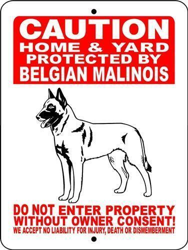"""Belgian Malinois 12""""x18"""" Aluminum Sign"""