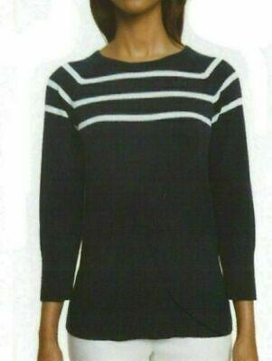 Nautica Womens Striped Crewneck Sweater Navy Sz L NWT Free Shipping