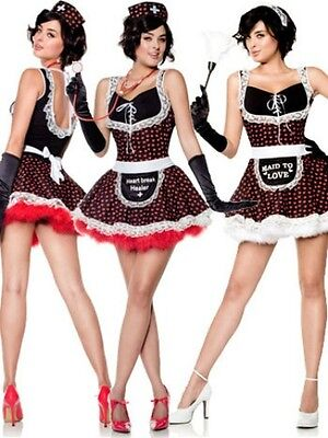Womens Sexy Nurse & Maid Costume Reversible Outfit Fancy Dress Apron Adult NEW (Adult Maid Outfit)