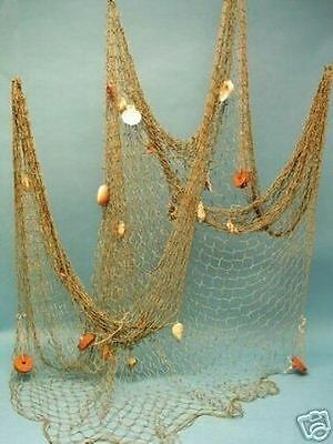 5'x10' Decorative Fishing Net w/ Shells & Cork Floats ~ Light Brown Fish Netting
