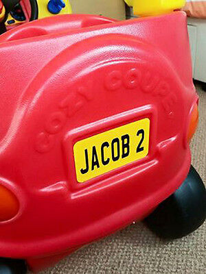 personalised frontback number plate fits any little tikes cozy coupe car kids