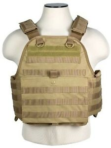 MOLLE-PALS-CHEST-RIG-KEVLAR-ARMOR-PLATE-CARRIER-ONLY-TACTICAL-VEST-TAN-BROWN