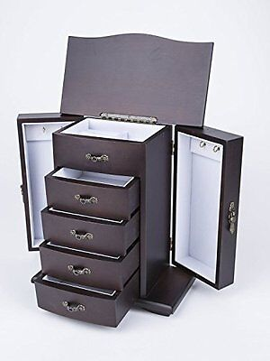 Bedroom Armoire Jewelry Cabinet Box Storage Chest Stand Organizer Durable Wood