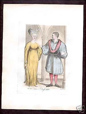 Renaissance 15th Century Fashion Dress Print