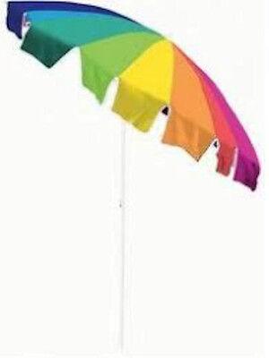 Rainbow Beach Umbrella - BEACH UMBRELLA 7.5' TILTING MULTICOLOR RAINBOW POOL PATIO SHADE TAN THRU NO SPF