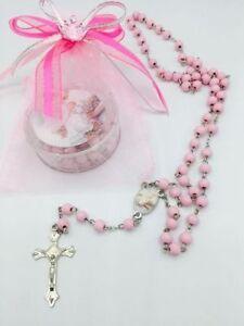 12-Baptism Favors Rosaries Cross Scented Pink Party Recuerdos de Bautizo Rosario
