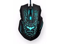 HAVIT 2400DPI Magic Eagle Ergonomic Wired Backlit Gaming Mouse, 7 Soothing LED