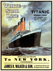 TITANIC-White-Star-Liner-RMS-Ship-Boat-New-York-Small-Metal-Tin-Sign-Picture
