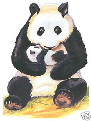 PANDA MOTHER & BABY MURAL WALL DECOR CREATIVE ART TRANSFER TATOUAGE