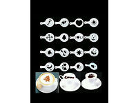Coffee stencil set. Barista tool. Drink duster. Various patterns. 16 piece set. £5.