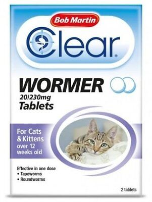 Bob Martin Clear Wormer Tablets - Effective Easy Cat & Kitten Worming 2 tablets