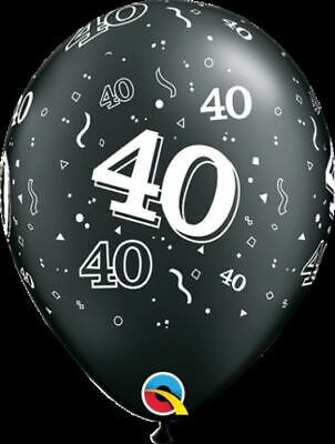 Qualatex 40th Birthday Helium Balloons Age 40 Black & Silver Party Decorations
