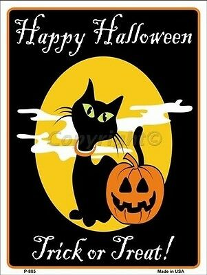 Happy Halloween Black Cat Holiday Metal Novelty Parking Sign- 9