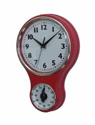 Kitchen Clock Wall Vintage Retro Diner Red Deco Style Home Decor