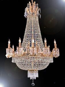 FRENCH EMPIRE CRYSTAL CHANDELIER CHANDELIERS LIGHTING 25X32 12 LIGHTS