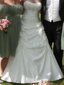 Ellis Bridal 11091 Ivory Taffeta A-line Wedding Dress Size 10/12 inc underskirt Excellent Condition