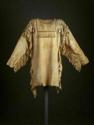 VIPZI MEN'S NATIVE AMERICAN BUCKSKIN BUFFALO LEATHER FRINGE WAR SHIRT WS07 Native American War Shirts