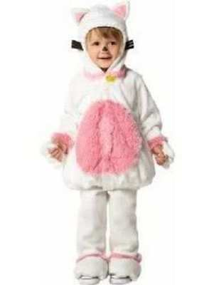 OLD NAVY WHITE KITTY CAT COSTUME Soft White Pink 0-6 MO 3 6 Halloween ()