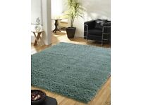 LARGE DUCK EGG BLUE THICK SHAGGY MODERN RUG 110x160cm