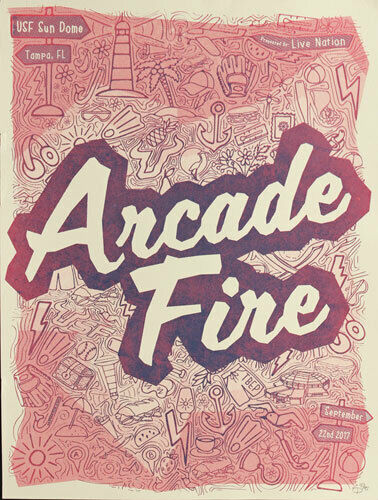 Arcade Fire 2017 USF Sun Dome Tampa Florida Silkscreen Poster Edition of 95 s/n