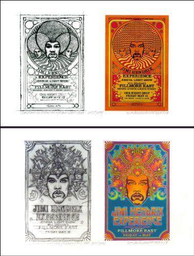 Jimi Hendrix Fillmore East 1968 2 Poster Set Concept Sketch Signed David Byrd