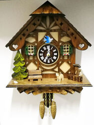 Wall Clock Cuckoo 8 11/16in Wooden Quartz Battery Forest Black Made In Germany