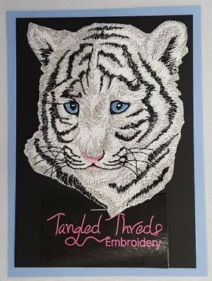 """White Tiger Cub,  Wildlife, Exotic Cat Embroidered Patch 4.7""""x 5.7"""""""