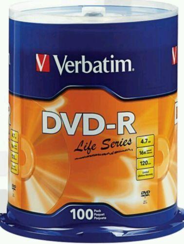 VERBATIM Life Series 16X DVD-R DVDR 4.7GB Branded Logo 100 pack Spindle 97177