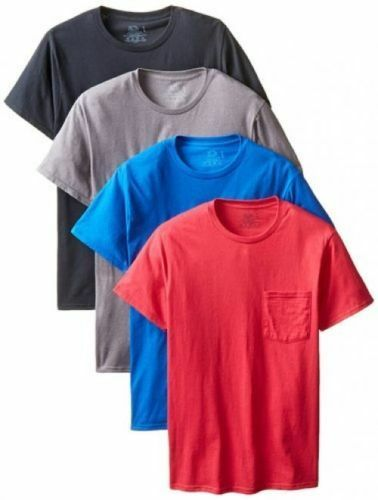 Fruit of the Loom Men's  4pack Pocket Tee Size M,L,XL,2XL,3XL