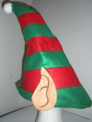 Red & Green Felt Elf Hat with Ears Santa's Helper Christmas Holiday Adult Size