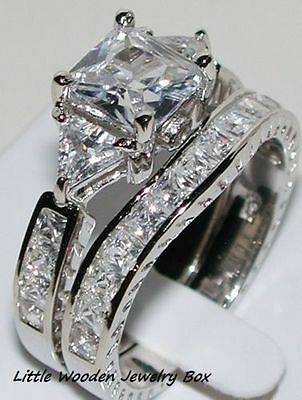 Halo Wedding Set - 14k White Gold Sterling Silver Princess Cut Engagement Ring Wedding Band Set