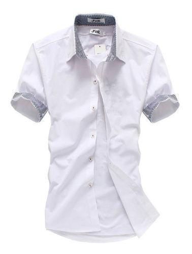 Mens large short sleeve dress shirts ebay for Mens short sleve dress shirts