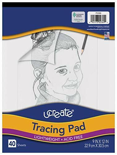 """Pacon UCreate Tracing Pad White 9"""" x 12"""", 40 Sheets Acid-free and Recyclable"""
