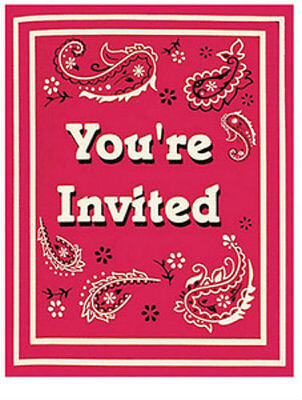 Classic Bandanna Invitations (8) - Western Themed Party Supplies - Western Themed Parties