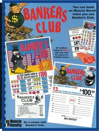 """"""" Bankers Club"""" 5W Pull Tab 480 Tkts $100 Prize seal card"""