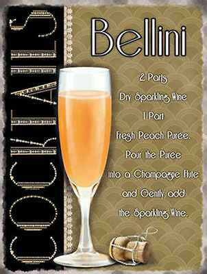 Bellini Cocktail Recipe, Pub Hotel Wine Bar Peach Drink, Novelty Fridge Magnet (Peach Bellini Cocktail Recipe)