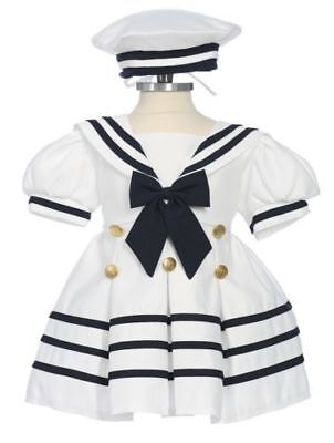 Baby Girl & Toddler Formal Sailor Party Dress WHITE/NAVY 3 Months & 4 (Sailor Dresses Babies)