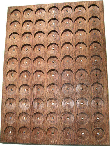 WALNUT PATHTAG GEOCOIN DISPLAY - HOLDS 70 TAGS - UNIQUE & MADE IN USA
