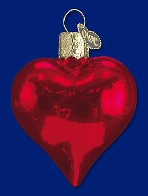 SHINY RED HEART OLD WORLD CHRISTMAS GLASS VALENTINE'S DAY ORNAMENT NWT 30009