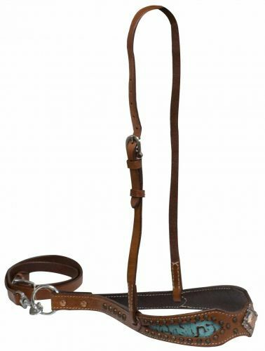 Western Horse Turquoise Leather Nose Band w/ Tie Down Barrel Racing Gymkhana