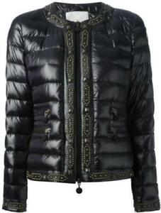Moncler Roseau Black Leather Trim Studded Nylon Down Feather